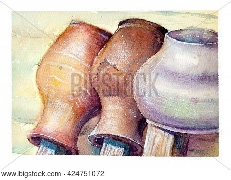 Watercolor Illustration Rustic Ceramic And Cast Iron Jugs Are Drying On The Fence Near The Wooden Wa