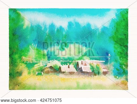 Among The Dense Green Forest And Yellow Meadow Is A Village, Roofs Of Houses, Wires. Hot Summer Day,