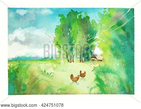 Summer Watercolor Illustration, A Village House Stands Among Tall Green Trees, Chickens Run Around,