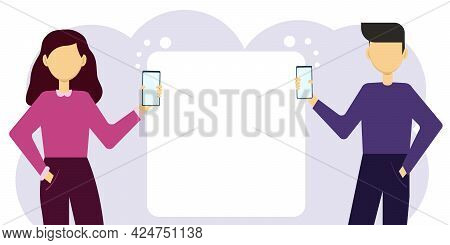 Vector Illustration Of A Man And A Woman With Mobile Phones And A Cloud For General Correspondence