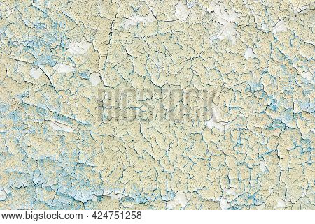 Cracked Paint Texture, Photography Backdrop, Light Grunge Flat Lay Tabletop For Food Or Product Phot