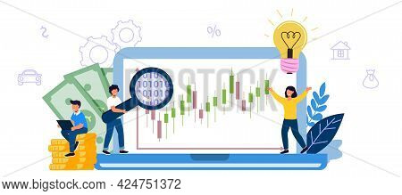 Invest In Best Idea Investment And Analysis Money Cash Profits Metaphor Flat Design Tiny People And