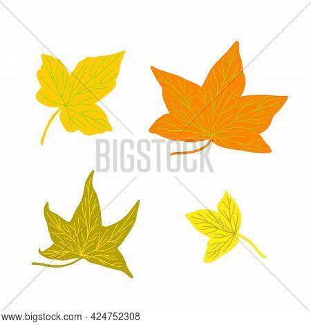Autumn Leaves Simple Vector Minimalist Concept Flat Style Illustration, Multicolored Hand Drawn Natu