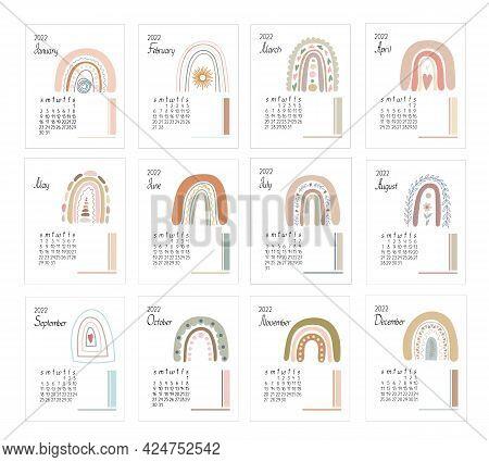 Calendar Template Year 2022 Boho Rainbows Abstract Vector Illustration In Simple Minimalist Style, R