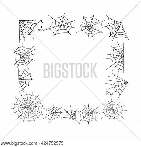 Spider Web And Little Hanging Spider Square Frame Simple Hand Drawn Vector Outline Illustration Of D