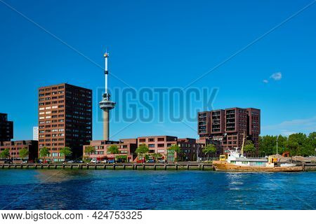Rotterdam cityscape with Euromast observation tower and Nieuwe Maas river. Rotterdam, Netherlands