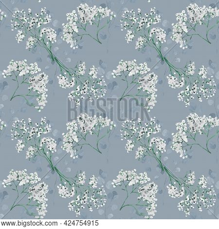 Seamless Background With White And Blue Flower Doodles, Baby Blue Background. Luxury Pattern For Cre
