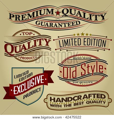 Set of Retro Seals, Labels and Calligraphic Designs