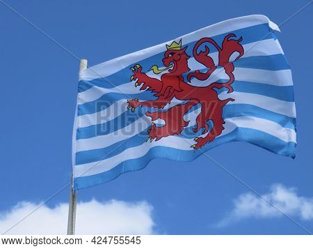 The Red Lion - Civil Flag And Ensign Of Luxembourg Featuring White And Blue Stripes, Red Lion With A