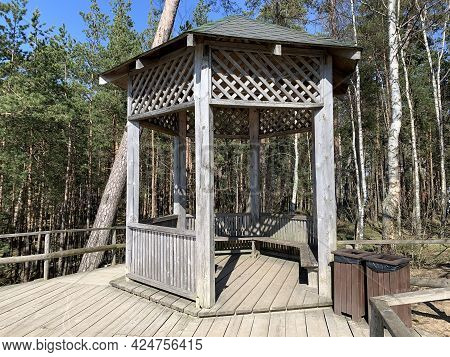Wooden Platform With Shelter By Steep And High Sand Dune On Baltic Sea Coast. Place Called White Dun
