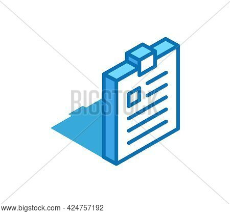 Notepad Isometric Icon. Tablet, Exercise Book, Notebook 3d Line Symbol.