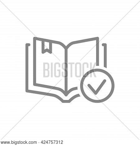 Open Book With Tick Checkmark Line Icon. Book Verification, Library Symbol