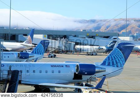 June 9, 2021 In San Francisco, Ca:  United Airlines Aircraft Parked At Gates Taken In The San Franci