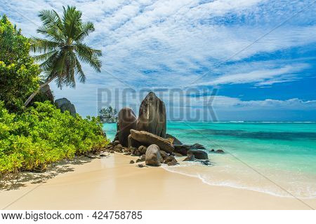 Tropical Beach In Seychelles, High Quality Image