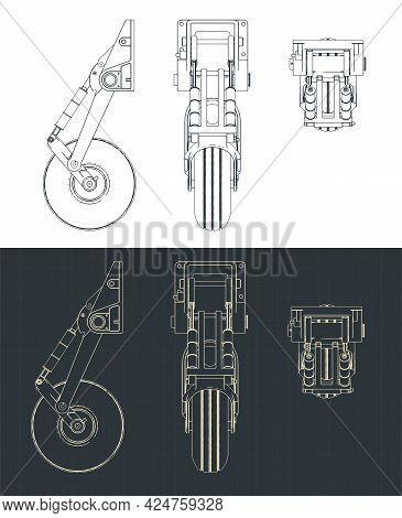 Stylized Vector Illustration Of Blueprints Of Nose Landing Gear Blueprints For Light Aircraft