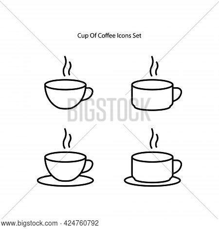 Coffee Icons Set Isolated On White Background. Coffee Icon Thin Line Outline Linear Coffee Symbol Fo