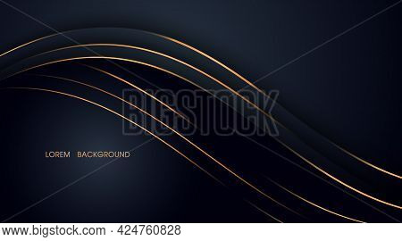 Black Abstract Layer Illustration With Golden Lines For Card, Annual Business Report,template