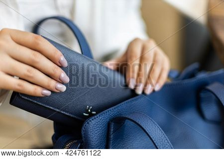 Top View Woman Hands Counting Checking Cash Money Dollars And Documents Before Leaving To Vacation