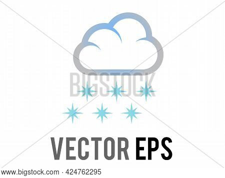 Vector Blue Snowflakes Falling From White Cloud Icon