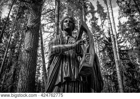 Monument To Muse Erato Playing A Kithara. Pavlovsk, Russia. Fyodor Gordeyev, 1787. Black And White.