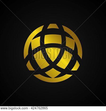 Trinity Logo. Triquetra. Trinity Vector. Holy Trinity Symbol. Trinity Geometric Logo, Gold Trinity K