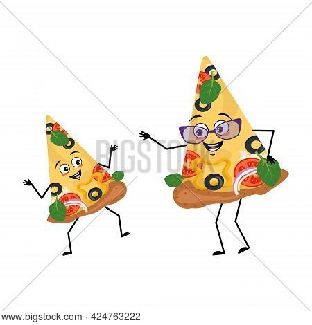 Cute Pizza Characters With Happy Emotions And Smile Face. Funny Grandmother With Glasses And Dancing