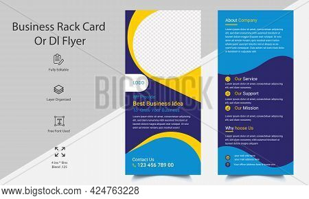 Rack Card Design For Corporate  Business And Dl Flyer. Print Ready Business Rack Card. Ready To Prin