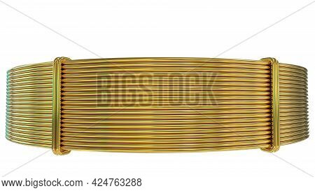 Gold Or Brass Wire Skein, Isolated Concept Industrial 3d Illustration