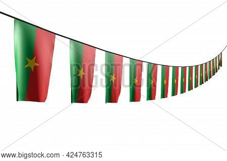 Beautiful Celebration Flag 3d Illustration  - Many Burkina Faso Flags Or Banners Hanging Diagonal Wi