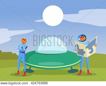 Aliens Standing Next To Flying Saucer And Holding Map. Newcomers In Spacesuits Landing On Earth And