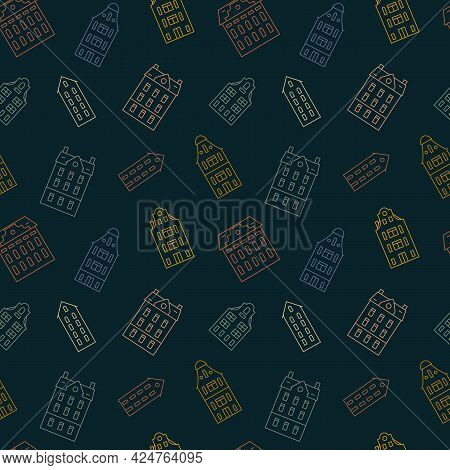 Seamless Pattern With European Vintage Holland Houses In Retro Style. Outline Old Historical Buildin