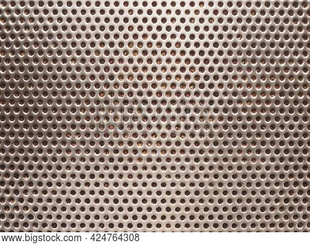Dotted Stainless Steel Texture From A Pan With Burnt Grease Residue. Metal Surface, Steel Backdrop.