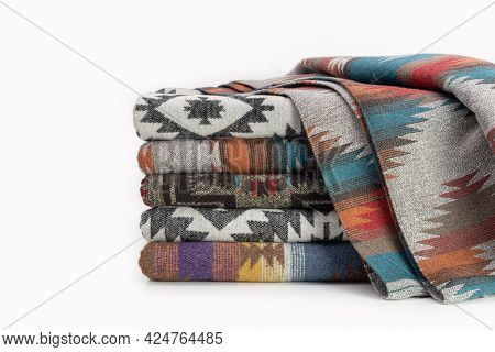 Woolen Throw Blanket In Pendelton Style. Concept For A Good Christmas Present, Studio Shot.