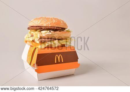 Klang, Malaysia: June 24, 2021- Big Mac Burger On Burger Box. Coy Space