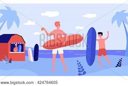 Male Friends With Surf Boards And Beverages On Beach. Boys In Shorts Enjoying Summer Vacation Flat V