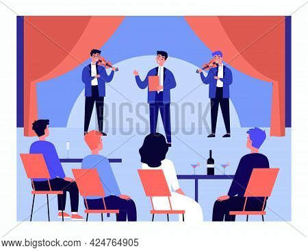 Boys Musical Band Performing In Front Of Audience. Musicians Singing And Playing Violins Flat Vector