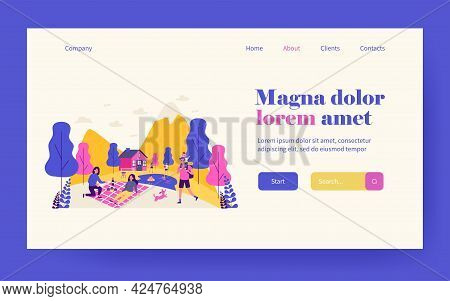 People Spending Vacation Outdoors. Picnic, Hiking In Mountains, Swimming In Lake Flat Vector Illustr