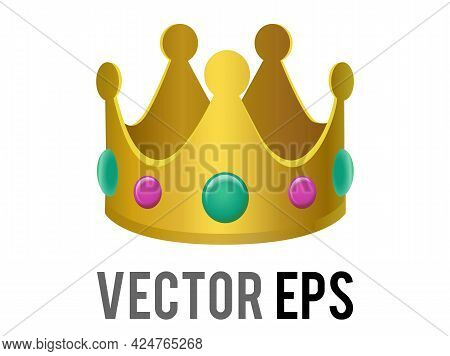 The Isolated Vector Gradient Gold Crown Icon With Gemstone Jewels On The Sides. Representative Of Ki