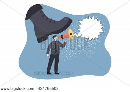 Giant Army Boot Threatening To Crush Man With Megaphone. Male Character Under Soldier Shoe Flat Vect