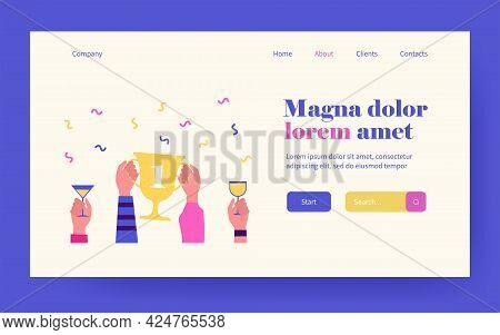 Hands Holding Golden Cup With One Digit Or Glasses. Drink, Contest, Champion Flat Vector Illustratio