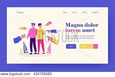 Gay Intolerant Society. Hands Of People Pointing Male Couple Flat Vector Illustration. Accusation, I