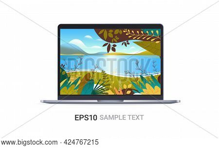 Laptop With Beautiful Seascape Background On Screen Isolated On White Background Realistic Mockup De