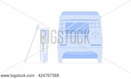 Covid-19 Rt Pcr Machine, Testing Tube And Swab Sample. Thermocycler For Coronavirus Test. Thermal Cy