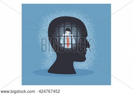 Powerless Business Person Mind Prison. Sad Man Behind Bars In Human Head Flat Vector Illustration. F