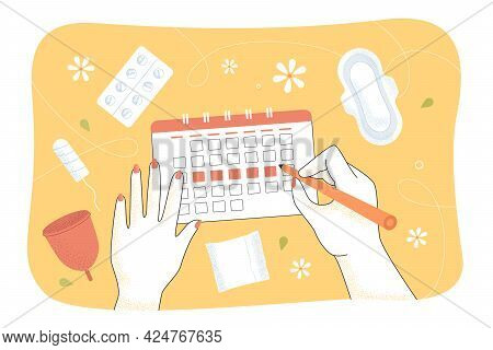 Girl Marking Periods In Calendar. Menstrual Cup, Pads, Tampon, Pain Killers Flat Vector Illustration