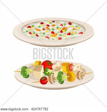 Vegan Dish And Main Course With Porridge And Skewered Vegetables Vector Set