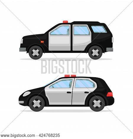 Police Car Or Radio Motor Patrol Vehicle Vector Set