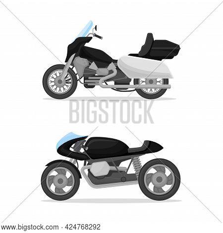 Police Motorcycle As Radio Motor Patrol Vehicle Vector Set