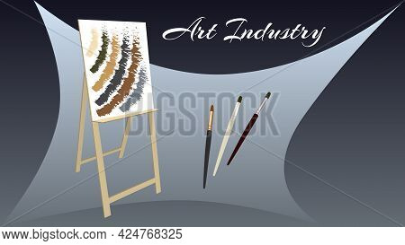 Art Industry Flyer With Easel And Brushes On Gray Background. Vector Illustration.