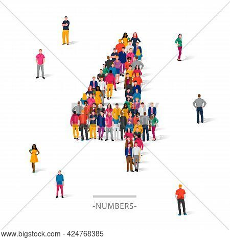 A Large Group Of People Is Standing In Colored Clothes In The Shape Of The Number 4. The Concept Of